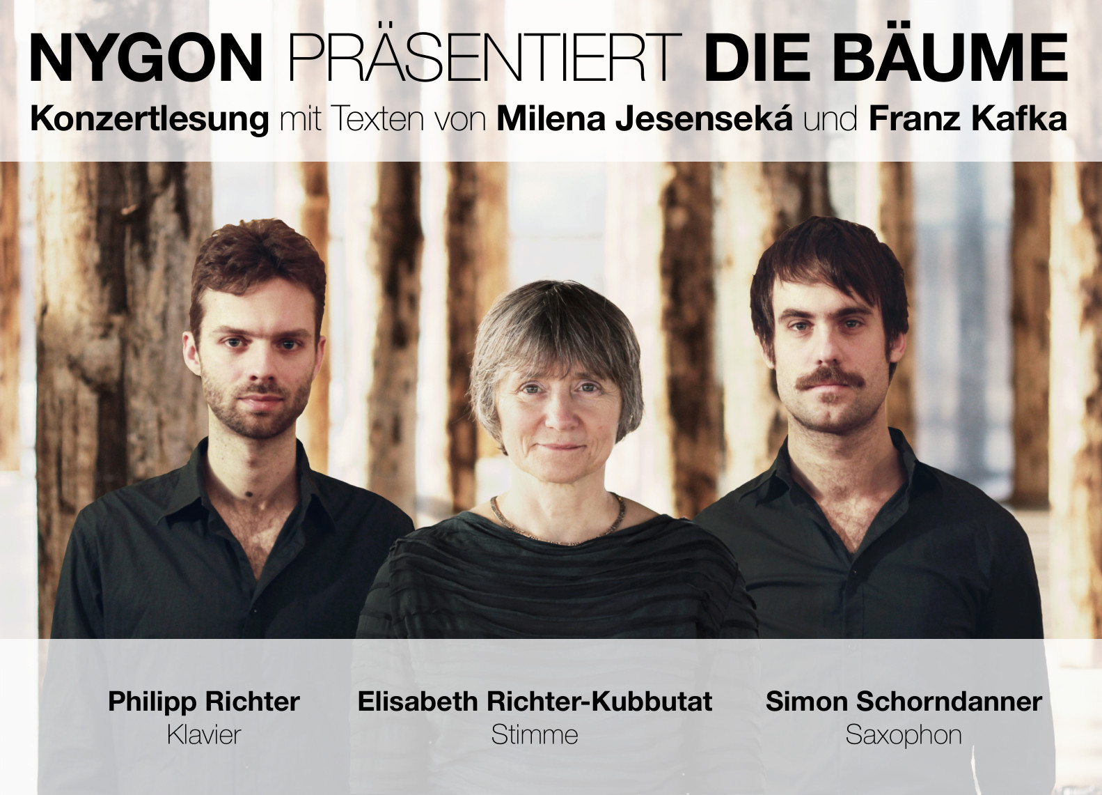 NYGON präsentert »Die Bäume« - Konzertlesung mit Texten von Franz Kafka und Milena Jesenská